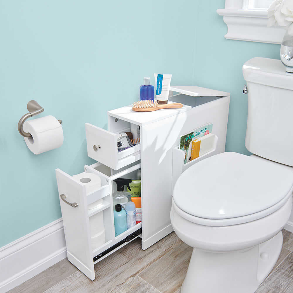 The Tight Space Bathroom Organizer Hammacher Schlemmer