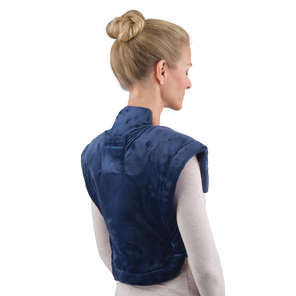 the cordless neck and shoulder heat wrap - hammacher schlemmer