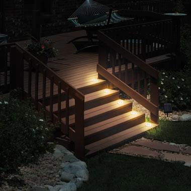 Flush Mount Solar Stair Lights Black