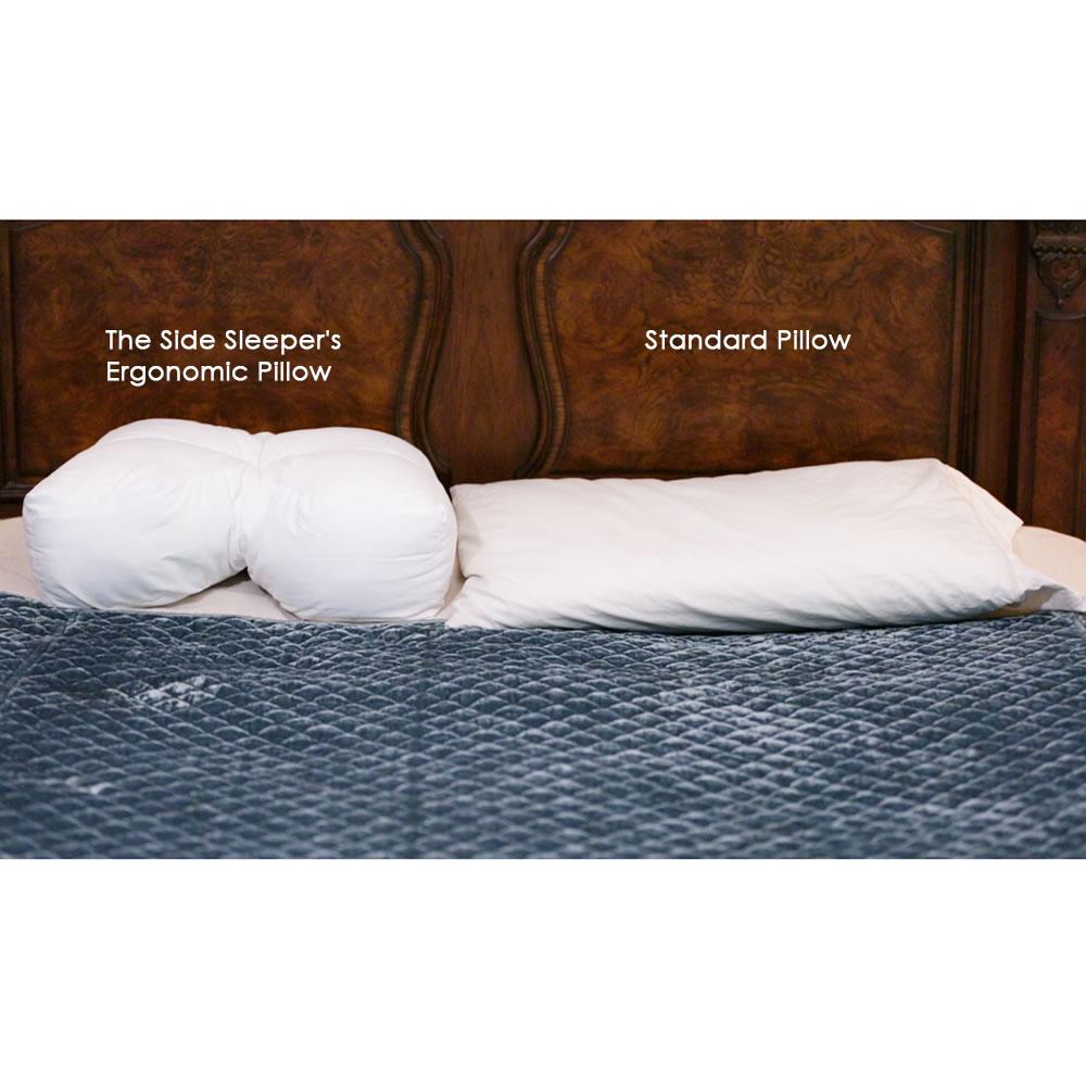 The Ergonomic Side Sleeper Pillow - Hammacher Schlemmer on clinton positioning pillow, medical knee pillow, cervical pillow, sleeping pillow, office pillow, prone position pillow, firmapedic pillow, square microbead pillow, modern pillow, vibrating pillow, orthopedic pillow, beautiful pillow, love pillow, side sleeper pillow, throw pillow, standard pillow, eye pillow, expandable pillow, 6 body pillow, massage pillow, lazy lambert ergo pillow, horseshoe shaped pillow,