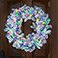 The Cordless Snowy Bough Light Show Wreath - Front door colored lights