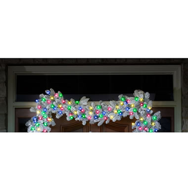 The Cordless Snowy Bough Light Show Garland