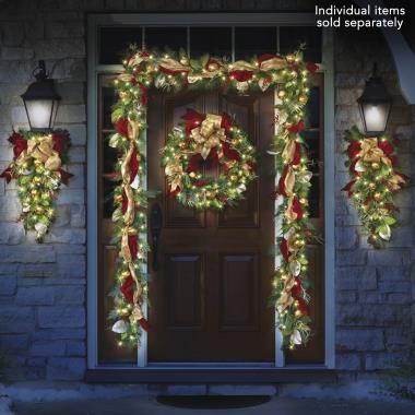 The Cordless Prelit Regal Ribbon Wreath