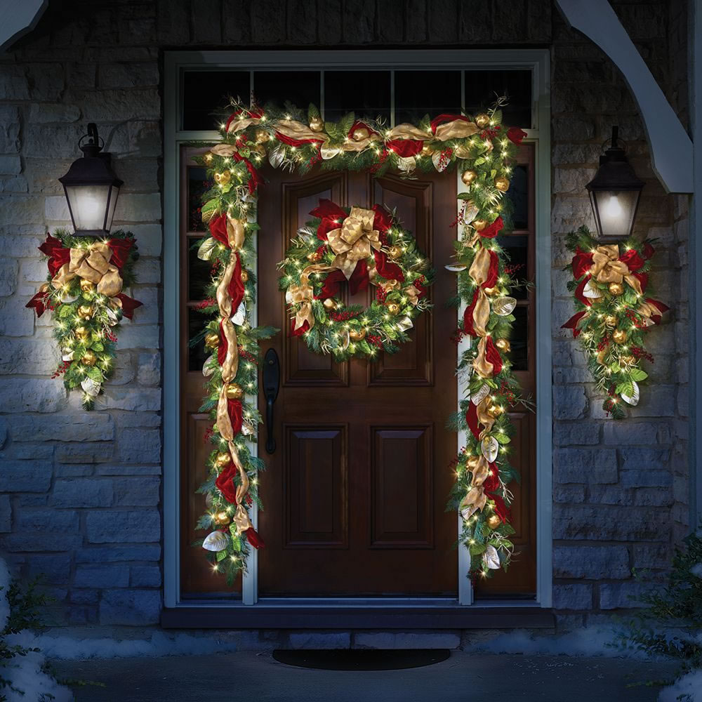 The regal ribbon cordless prelit garland that can be hung anywhere indoors or outdoors without requiring unsightly extension cords or proximity to an outlet.