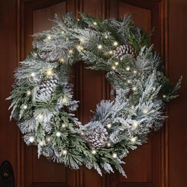 Pre Lit Silver Flock Holiday Trim Wreath