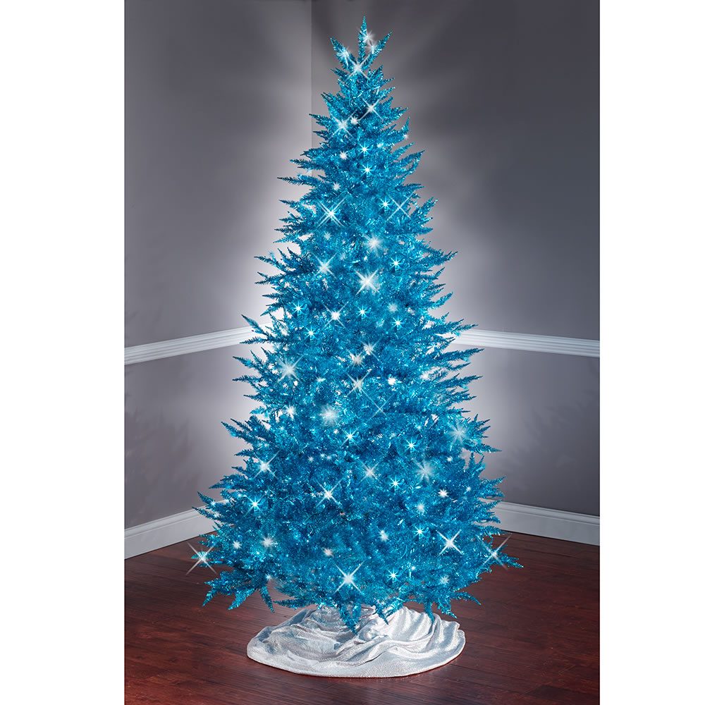 the 7 12 foot teal tinsel tree hammacher schlemmer - 2 Foot Christmas Tree