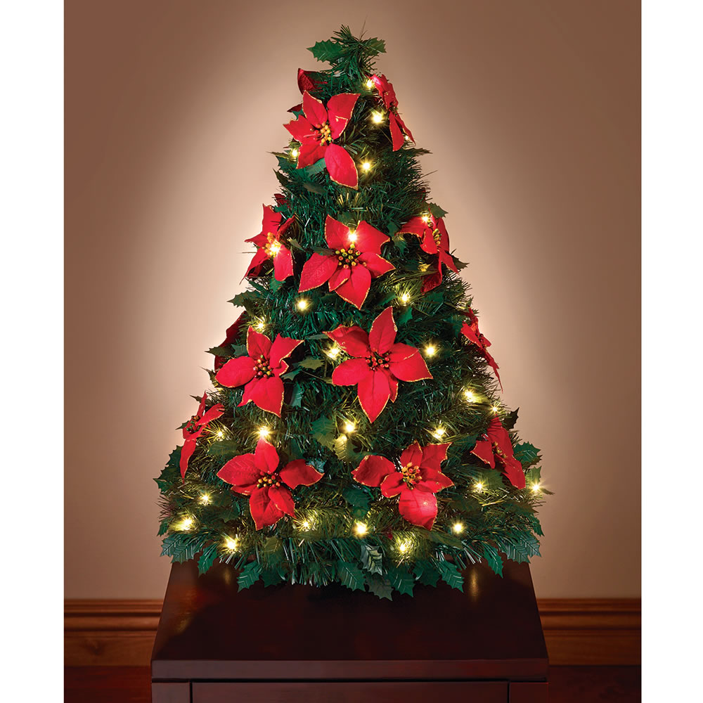 the pop up poinsettia tabletop tree - Pop Up Christmas Tree With Lights And Decorations