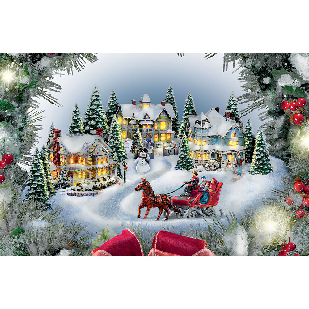 Thomas Kinkade Christmas.The Thomas Kinkade Illuminated Holiday Wreath Hammacher