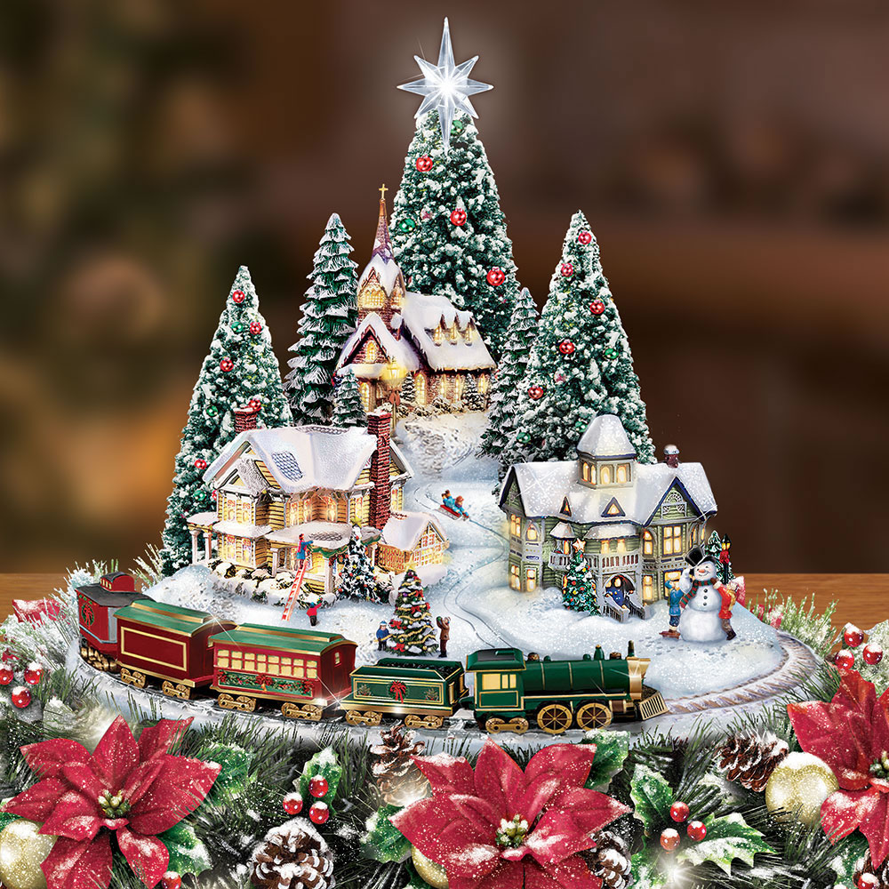 Thomas Kinkade Christmas.The Thomas Kinkade Illuminated Animated Centerpiece