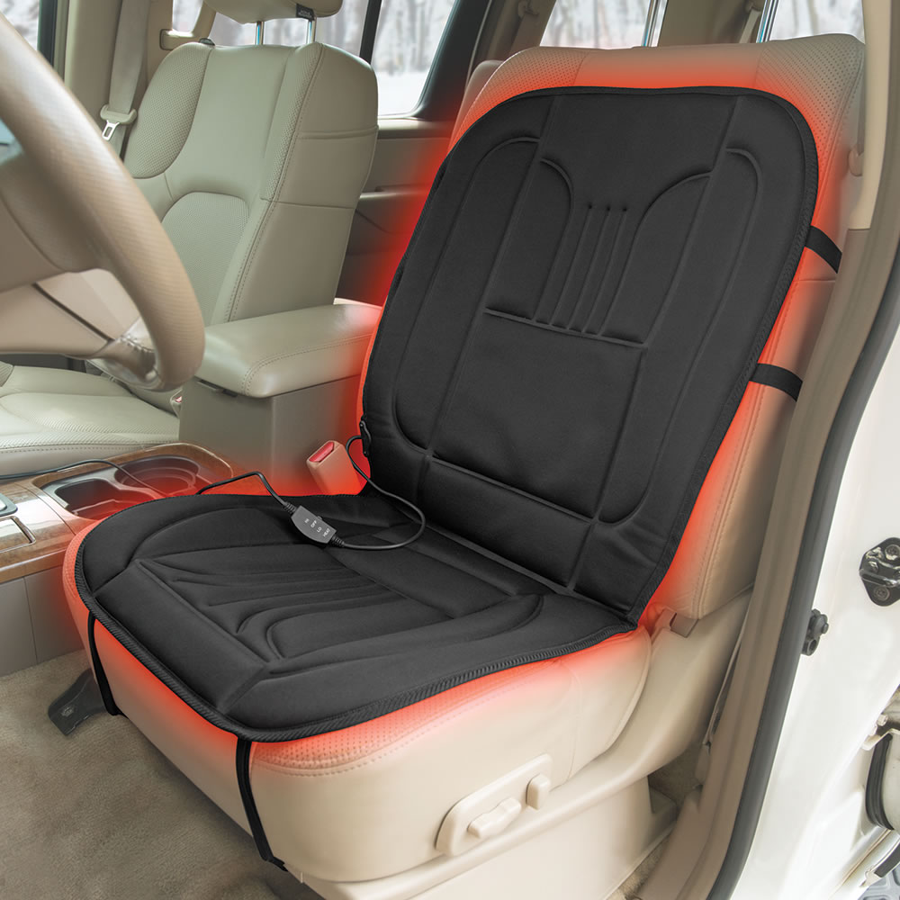 the superior heated car seat pad hammacher schlemmer. Black Bedroom Furniture Sets. Home Design Ideas