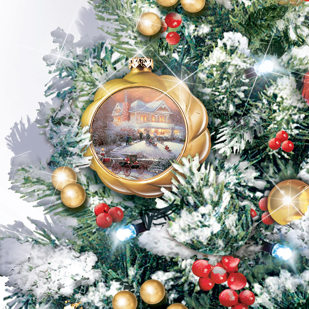 the thomas kinkade snow globe tabletop tree close up of ornament with christmas scene - Thomas The Train Outdoor Christmas Decoration
