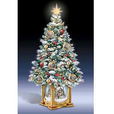 The Thomas Kinkade Snow Globe Tabletop Tree - Ornament with Christmas setting
