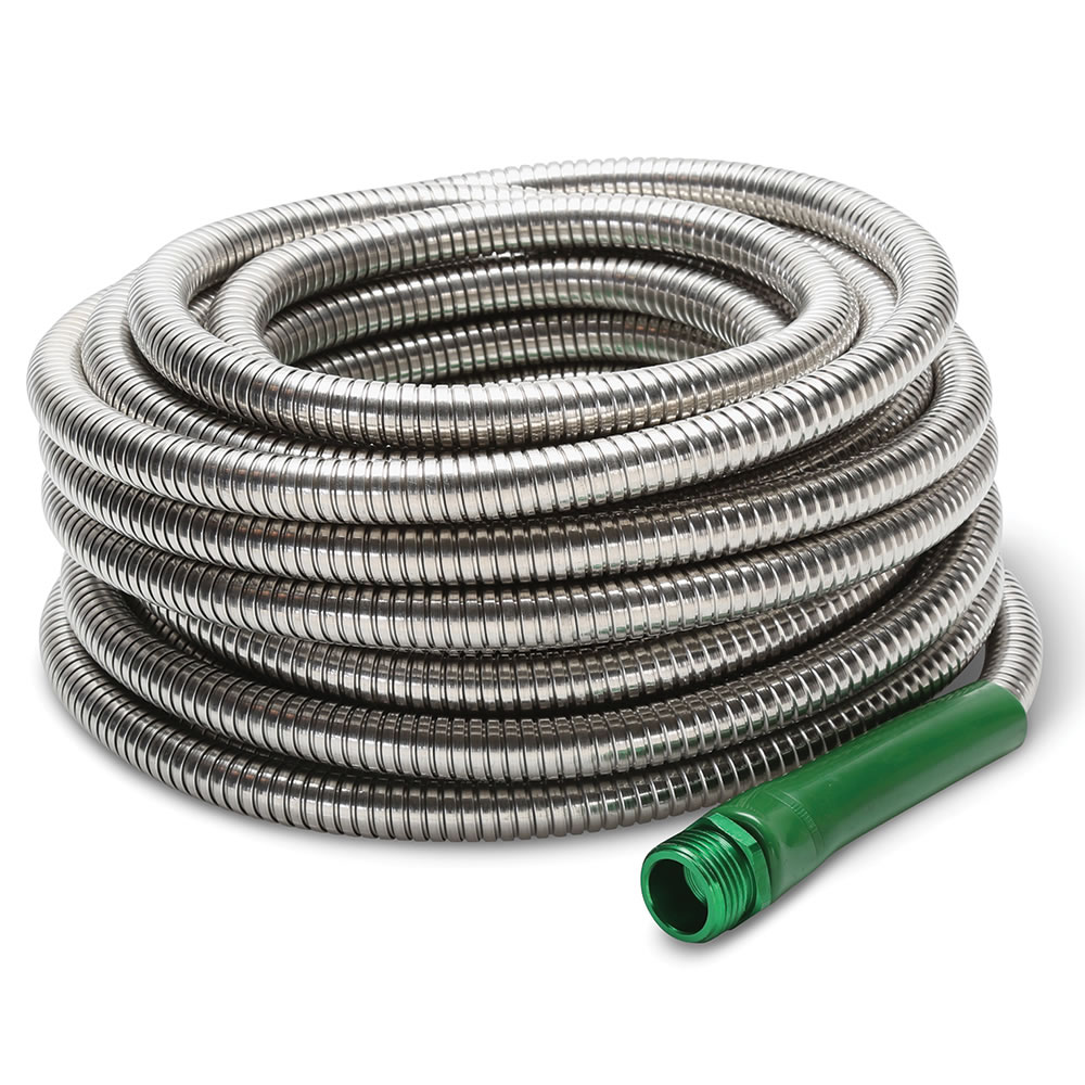 the indestructible stainless steel hose 100 u0027 hammacher schlemmer