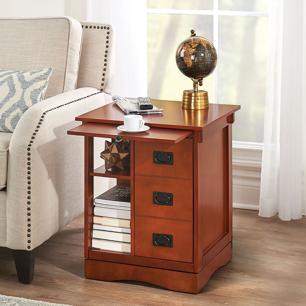 The Rotating End Table Hammacher Schlemmer