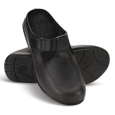 Ladys Neuropathy Leather Mules Blk 37