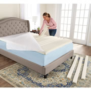 This is the only mattress topper that enables two sleeping partners to customize the level of firmness for the head, hips, and legs. Its seven built-in hollows accommodate removable foam inserts that adjust firmness for each of the three body regionsu0097adding inserts provides softer firmness; removing inserts provides a pillow-like surface. Inserts must be cut in half to accommodate two sleepers. The hollows can be left empty for a pillow-like sleeping surface. Made from polyurethane foam, the topper adds 3u0094 to height of an existing mattress. 95% polyester/5% spandex outer cover unzips for machine washing. (13 3/4 lbs.) King.