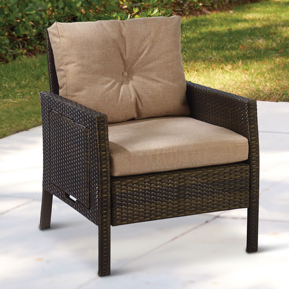 The Side Tabled Outdoor Wicker Armchair