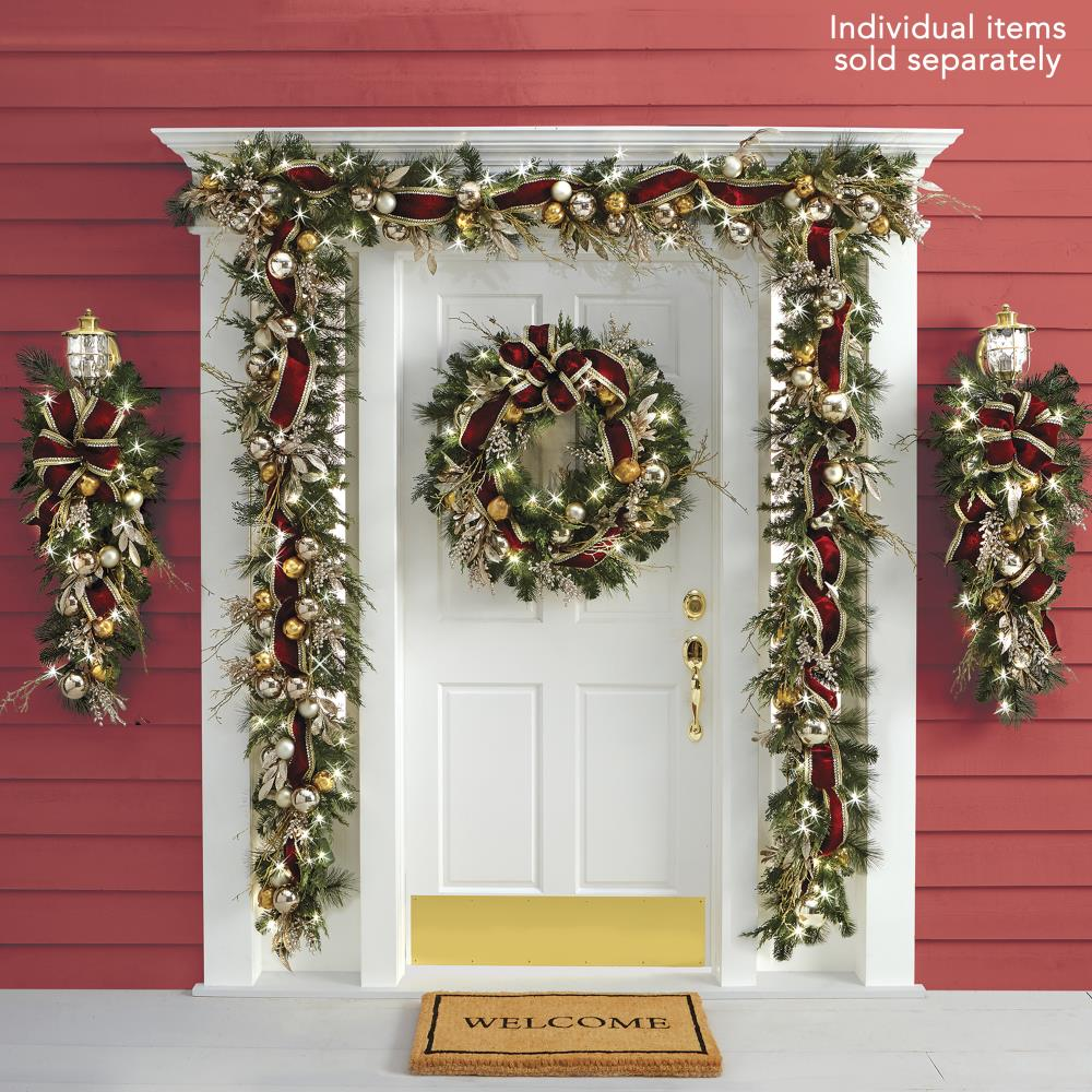 Gold Christmas Wreath.The Cordless Prelit Crimson And Gold Holiday Trim Wreath