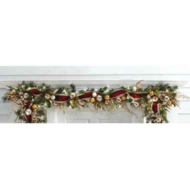 The Cordless Prelit Crimson And Gold Holiday Trim (Garland)