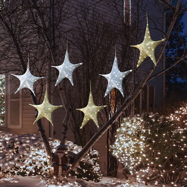 The Cordless Outdoor Twinkling Tree Stars.