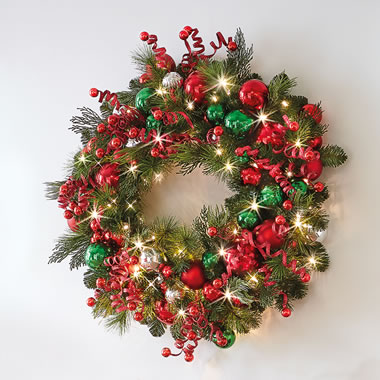 The Cordless Prelit Classic Holly Jolly Holiday Trim (Wreath)