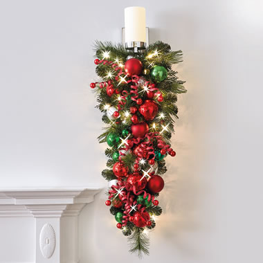 The Cordless Prelit Classic Holly Jolly Holiday Trim (Teardrop Sconce)