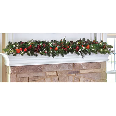 The Cordless Prelit Della Robbia Holiday Trim (6' Garland)