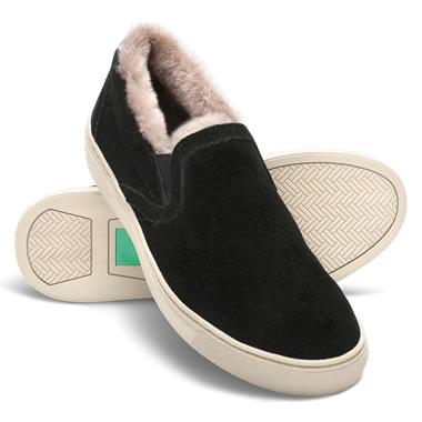 Lady's Lambswool Lined Suede Loafer 10 Blk