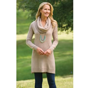 """Available exclusively from Hammacher Schlemmer, this is the lady's tunic top made entirely from washable cashmere. Practical for everyday wear yet luxuriously soft, the long-sleeve tunic features a stylish cowl neck and falls gracefully to mid-thigh for a flattering look alone or under a jacket. Hand-combed from the fine, downy undercoat of Mongolian Cashmere goats, the fibers in this sweater undergo a proprietary, non-toxic treatment that allows them to withstand repeated washing without shrinking, eliminating the expense and inconvenience of dry cleaning. The 100% two-ply cashmere yarn also provides unparalleled warmth in addition to its classic elegance. Imported. Generous fit. Tan. 32-34"""" L. Sizes S (38""""), M (40""""), L (42""""), and XL (44"""")."""