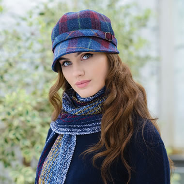 Lady's Irish Wool Tartan Cap Blue