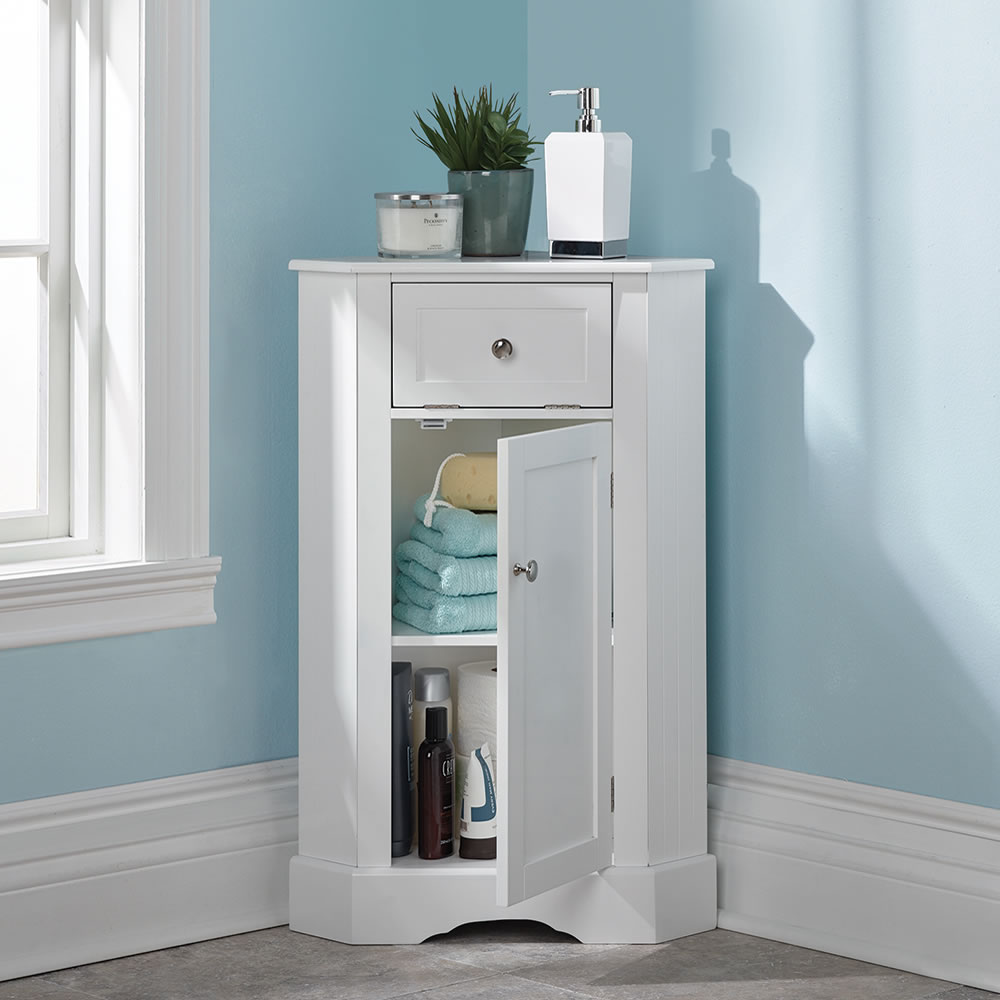 bathroom corner wall cabinet the bathroom corner cabinet hammacher schlemmer 11456
