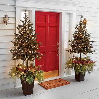 The Estate Door Prelit Christmas Tree Planter.