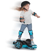 """This is the sidewalk surfer that spins 360u00BA and provides a child with hoverboard-like thrills. Unlike hoverboards designed for young adults that require exceptional balance and reach a top speed of 12 mph, this six-wheeled unit provides optimal balance and only reaches a maximum speed of 5 1/4 mph, making it safer and more stable than standard models. LED lights on the front and back of the unit provide nighttime illumination while its EVA rubber wheels ensure a smooth ride on pavement or asphalt. Its stable non-slip surface supports a rider up to 110 lbs. A handheld wireless remote control throttles the unit forward, left, or right. Its rechargeable 18-volt battery powers the unit for up to 50 minutes; remote requires two AAA batteries. Ages 6 and up. 27"""" L x 26"""" W x 9 1/2"""" D. (33 lbs.)"""