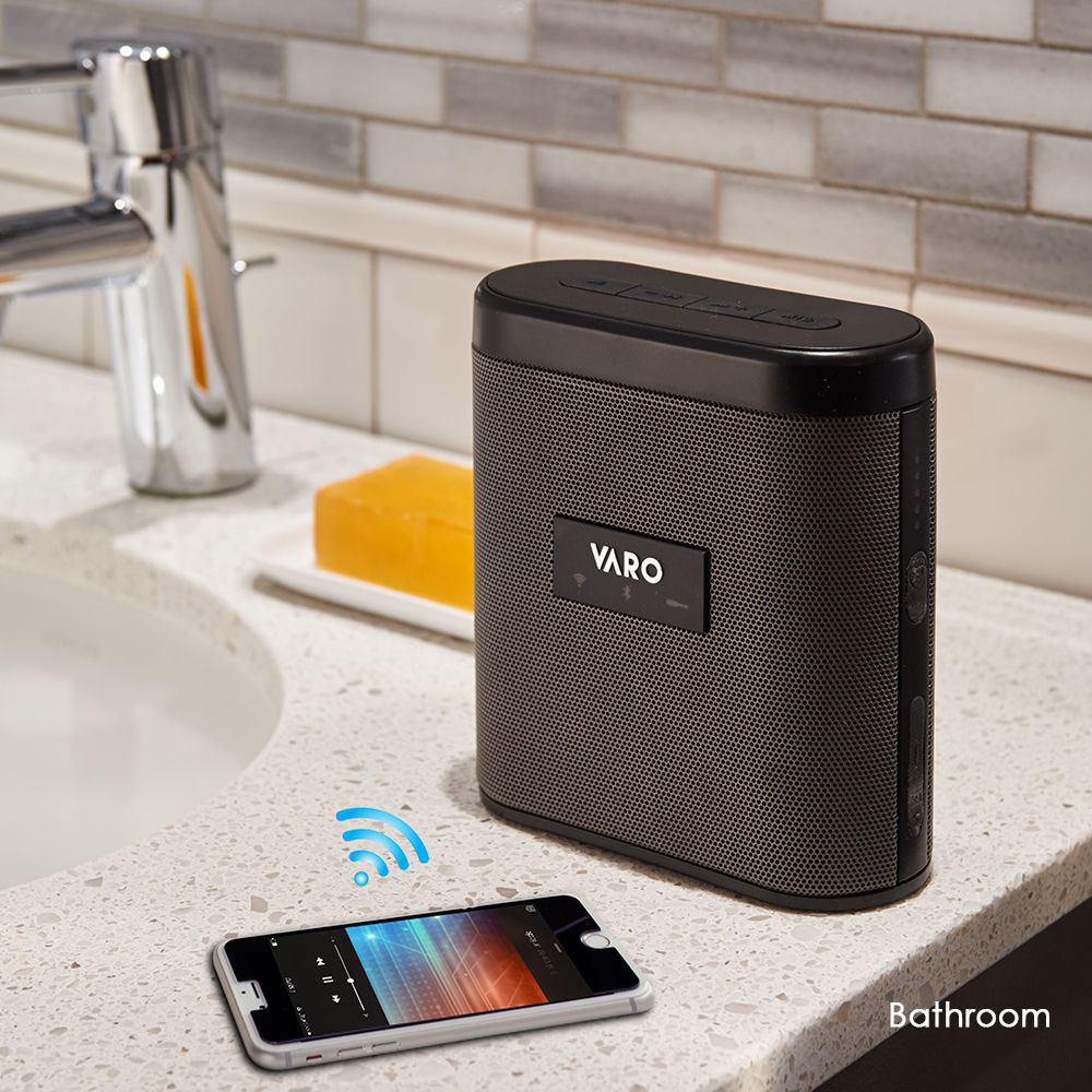 The Home Wide Wireless Speaker System - With phone in bathroom