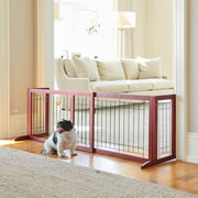 """This is the pet gate that expands from 39 1/4"""" to nearly 6' wide to block large doorways and hallways. It adjusts in seconds and sets up on extended feet that hold it upright without marring a jamb. The gate keeps pets with a 12"""" shoulder height from roaming and can be easily moved when expecting guests or reconfiguring a pet's roaming area. The 2"""" spacing between the metal slats keep pets contained while still providing them with a nearly unobstructed view. Minimal assembly. 21"""" H x 18"""" D x 39 1/4-70 3/4"""" W. (13 3/4 lbs.)"""