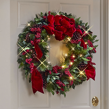 The Cordless Prelit Holly/Berries/Ribbon Holiday Trim set