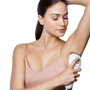 The Skin Tone Sensing Laser Hair Remover - Model removing underarm hair