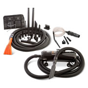 """This commercial quality vacuum kit comes with the same detailing tools used at professional car washes. Unlike conventional home units that lack the maneuverability and precision nozzles required to effectively clean the inside of an automobile, this steel compact model reaches every corner of a car's floor, dashboard, and upholstery. Its 4.0 peak horsepower, twin fan motor provides 130 cubic-feet-per-minute of vacuuming power that cleans a vehicle's interior with a flexible 30'-longu00A0crushproof hose and a collection of brushes, crevice tools, and micro detailing attachments. It also has an air-blowing function that blasts away dust from vents and clears standing water. Includes wall mount. AC plug; 12'-long cord. 21 1/4"""" L x 9"""" W x 7"""" D. (11 lbs.)"""