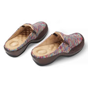 """These are the clogs with patented egg crate footbeds that provide enhanced comfort and support. The unique hills and valleys of the insoles help eliminate foot pain and discomfort by providing a mattress-like feel throughout the day. The clogs have a padded collar with elastic gore for comfort and feature a shock-absorbing midsole. With leather uppers on polyurethane and a 1 3/4""""-high heel, the durable clogs withstand the daily rigors of work and wipe clean with a damp cloth. With an antimicrobial microfiber footbed lining and upper lining. Black and Gray or Multicolor. Women's whole sizes 6-10."""