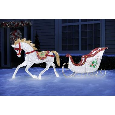 Twinkling Lawn Sculpture Stallion and Sled