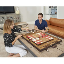 The Drawing Room Leather Backgammon Set