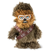 """This is the animated plush Chewbacca that walks and utters authentic Wookiee phrases and vocalizations. His integrated goggles reveal him to be based off the renowned character that appears for """"the first time"""" in Solo: A Star Wars Story. Giving him a squeeze elicits growls and gutteral phrases that remind owners he is a still a Wookiee, no matter what his 100% polyester plush exterior implies. Includes three AA batteries. Ages 5 and up. 12"""" H x 9"""" W x 6"""" D. (1 lb.)"""