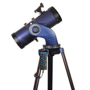 """This is the star-tracking telescope that provides a guided audio tour of the night sky. It provides over four hours of narration that covers 500 objects from its vast 30,000-object database, including planets, galaxies, and nebulae, tracking each in real time while maintaining focus. This reflector has a 130mm objective mirror that gathers optimal light from deep sky objects at magnitudes imperceptible to the unaided eye and delivers crisp images that are rich in contrast with a 1,000mm focal length and 9mm and 26mm Super Plossl multicoated eyepieces. Its integrated bubble level/compass assists initial alignment while its red dot viewfinder provides impromptu spotting. Sturdy aluminum tripod provides optimal image stability and convenient adjustability. Requires six AA batteries. 58"""" H x 24"""" Diam.u00A0(15 1/4 lbs.)u00A0u00A0"""