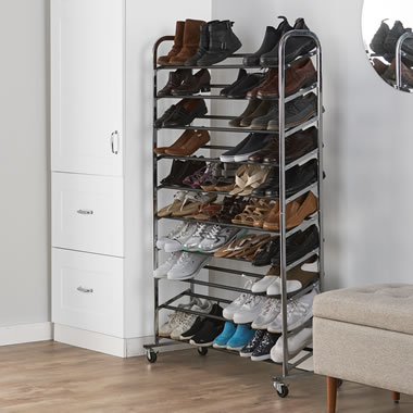 The Rolling 50 Pair Shoe Rack
