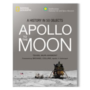 """This is the National Geographic book that commemmorates the 50th anniversary of NASA's Apollo program. The narrative uses 50 key artifacts sourced from the Smithsonian archives to tell the story of the program, whose goal was to land and return a man on on the Moon. Intriguing back stories about the artifacts -- which include the lunar rover, a space survival kit, space food, a stamp honoring Russian Yuri Gagarin, plastic astronaut action figures, and Moon rocks — accompany profiles of key astronauts, such as Neal Armstrong, Buzz Aldrin, and Michael Collins. The book also features the contributions of President John F. Kennedy, newsman Walter Cronkite, and NASA scientists such as Margaret Hamilton. Hardcover; 320 pages. 9"""" H x 7"""