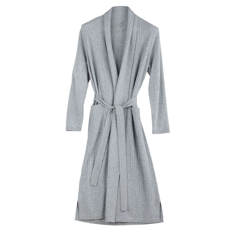 9d71039465a The Full Length Cabled Cashmere Robe - Hammacher Schlemmer
