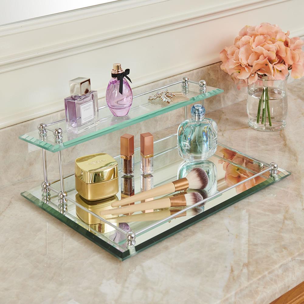 The Two Tier Glass Vanity Tray Hammacher Schlemmer
