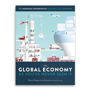 """This is the book that explains how the global economy works using 99 infographics. Whether it's a diagram of how a car is made, the basics of how companies are organized, or the history and life cycle of money, this book provides the context to understand all facets of the national and global economy. It's divided into seven themed sections such as economic theories, the environment and resources, and the future. Hardcover; 224 pages. 13 3/4"""" L x 10 1/4"""" W x 1"""" D. (4 lbs.)"""