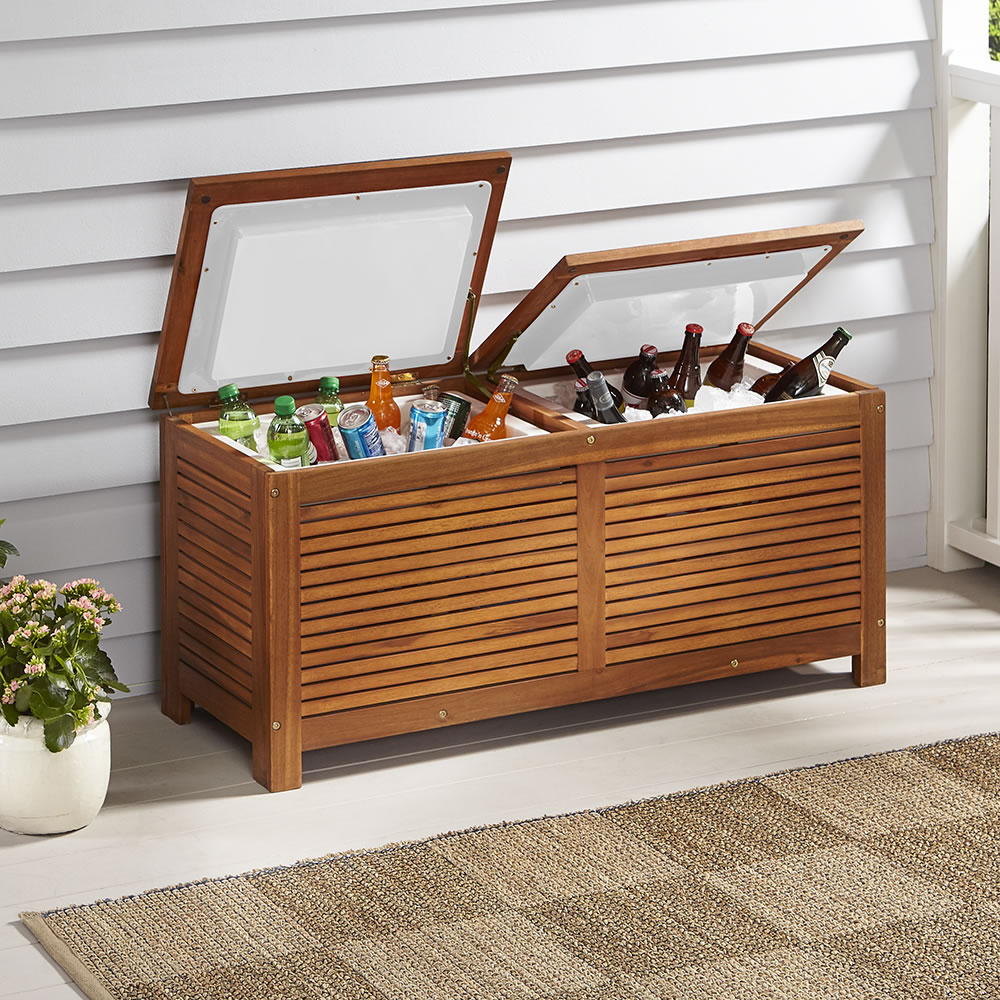 Stupendous The Two Cooler Patio Bench Hammacher Schlemmer Gmtry Best Dining Table And Chair Ideas Images Gmtryco