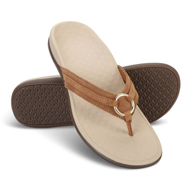 The Lady's Plantar Fasciitis Leather Thong Sandals